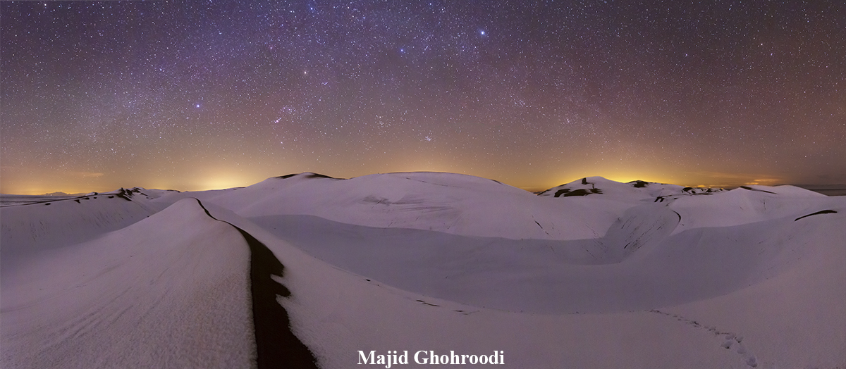 desert, snow and starry night